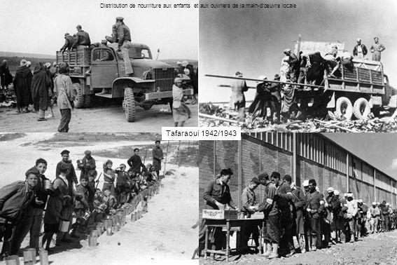 Distribution de nourriture aux enfants et aux ouvriers de la main-d'œuvre locale