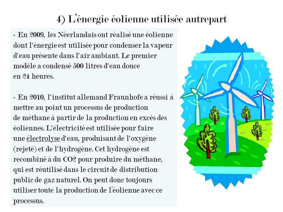 4) L'énergie éolienne utilisée autrepart