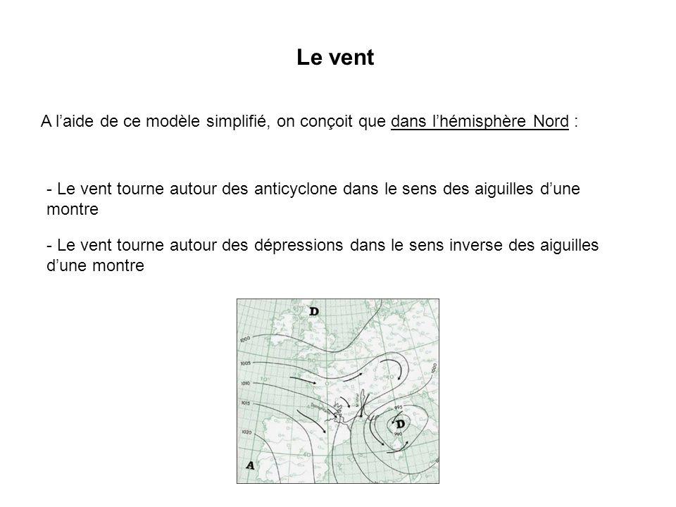 Le vent A l'aide de ce modèle simplifié, on conçoit que dans l'hémisphère Nord :