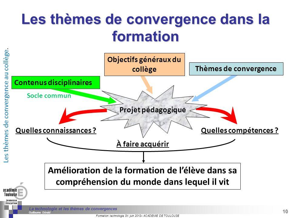 Les thèmes de convergence dans la formation