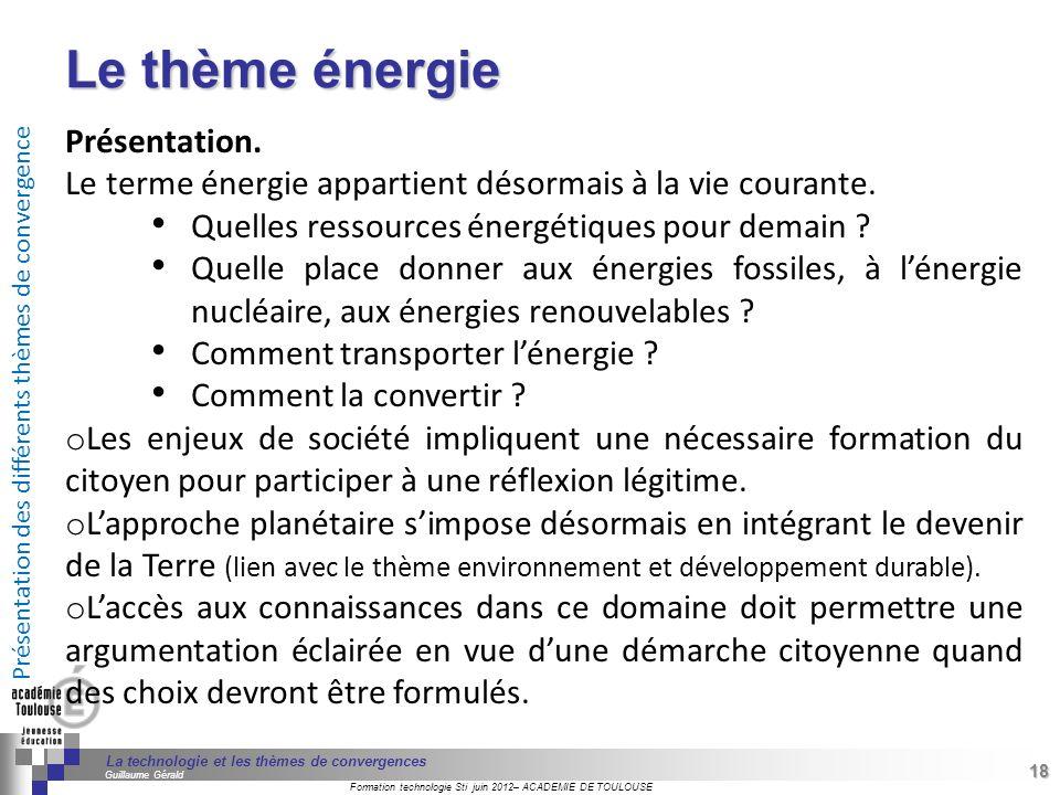 Le thème énergie Présentation.