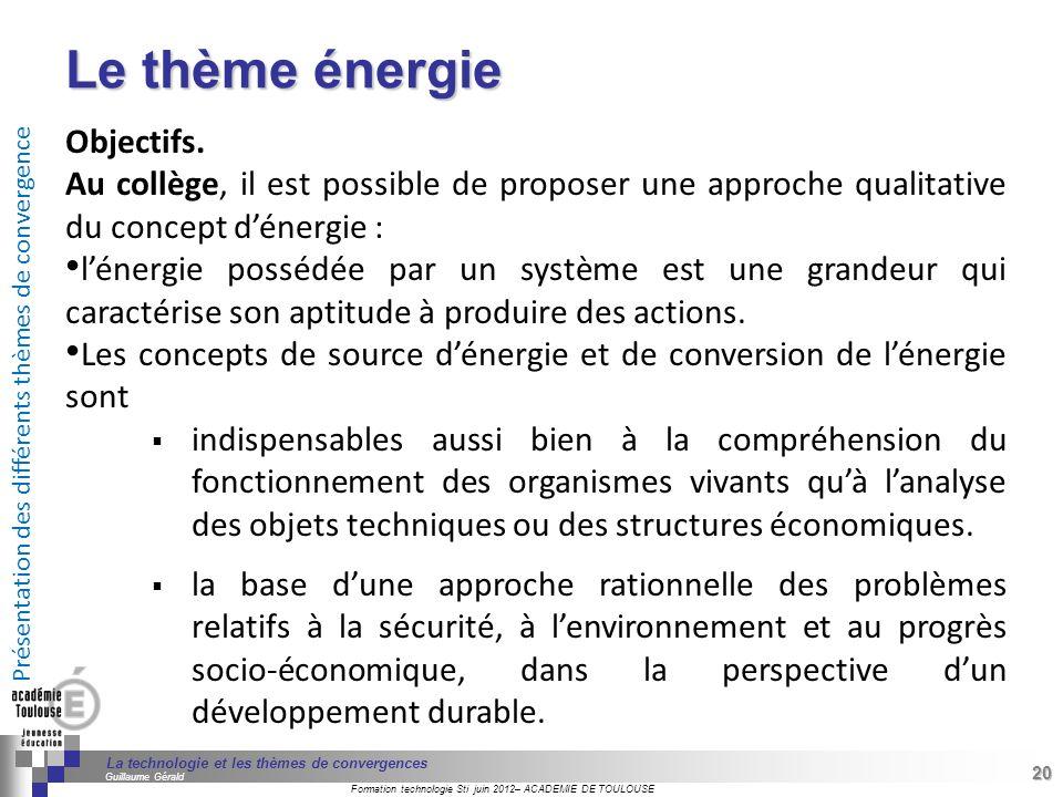 Le thème énergie Objectifs.