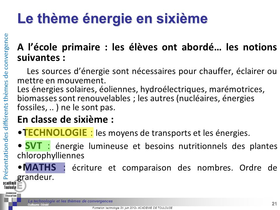 Le thème énergie en sixième