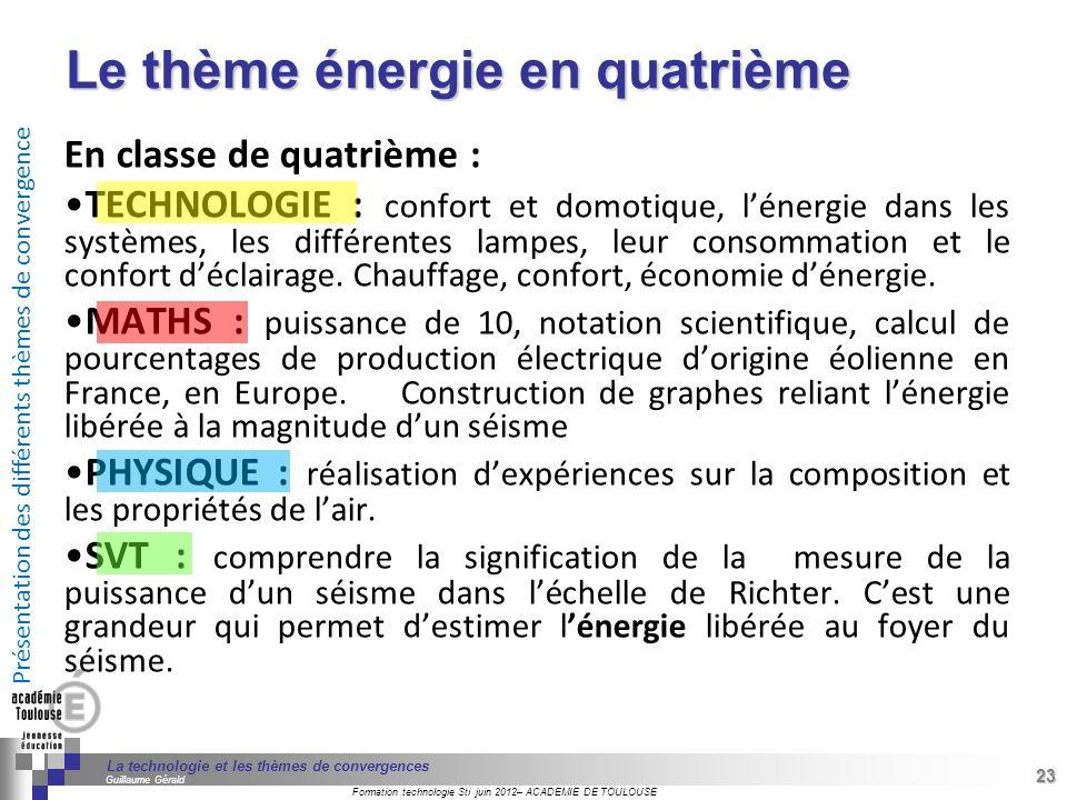 Le thème énergie en quatrième