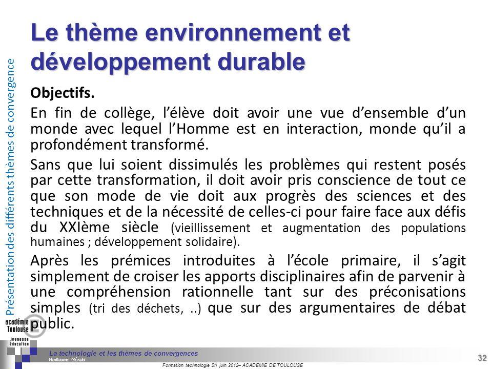 Le thème environnement et développement durable