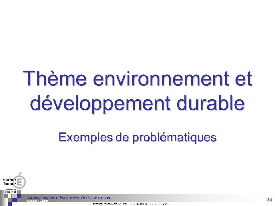 Thème environnement et développement durable