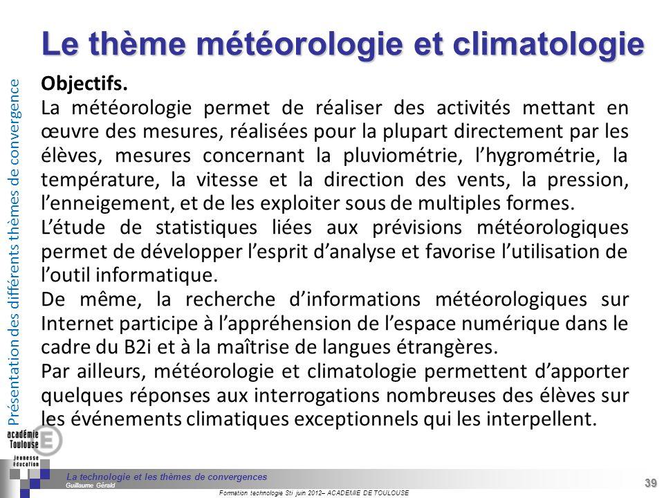 Le thème météorologie et climatologie