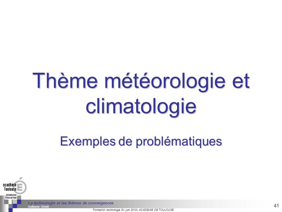 Thème météorologie et climatologie
