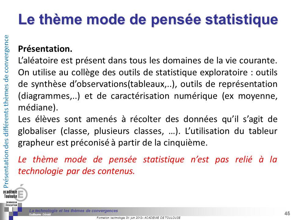 Le thème mode de pensée statistique