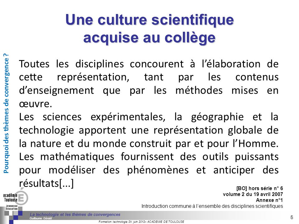 Une culture scientifique acquise au collège