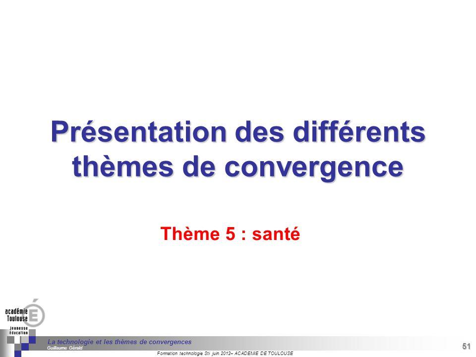 Présentation des différents thèmes de convergence