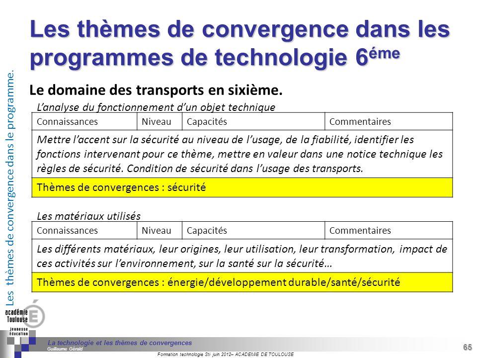 Les thèmes de convergence dans les programmes de technologie 6éme