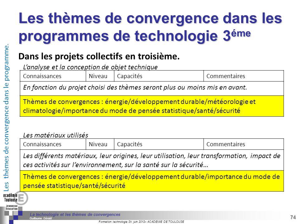 Les thèmes de convergence dans les programmes de technologie 3éme