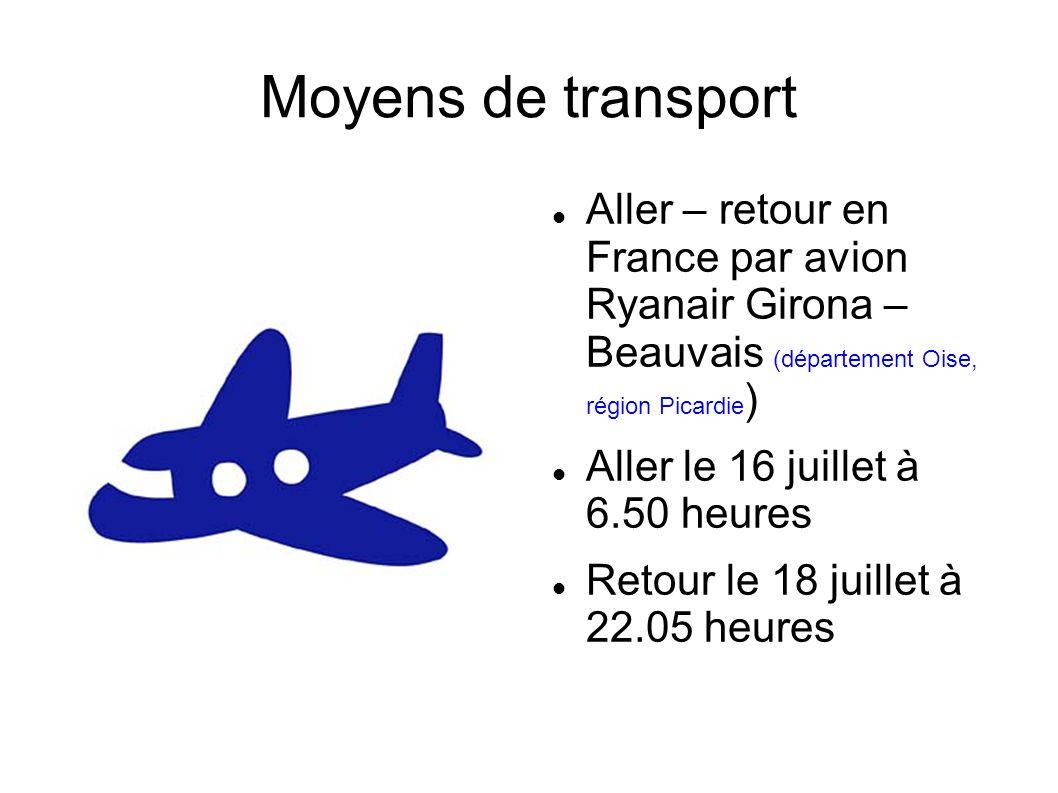 Moyens de transport Aller – retour en France par avion Ryanair Girona – Beauvais (département Oise, région Picardie)