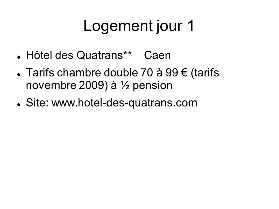 Logement jour 1 Hôtel des Quatrans** Caen
