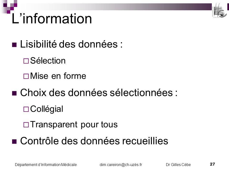 L'information Lisibilité des données :