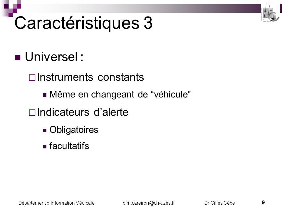 Caractéristiques 3 Universel : Instruments constants