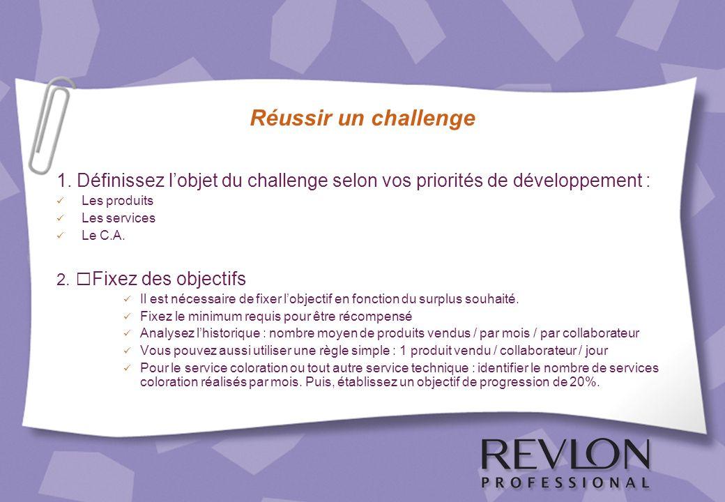 Réussir un challenge 1. Définissez l'objet du challenge selon vos priorités de développement : Les produits.