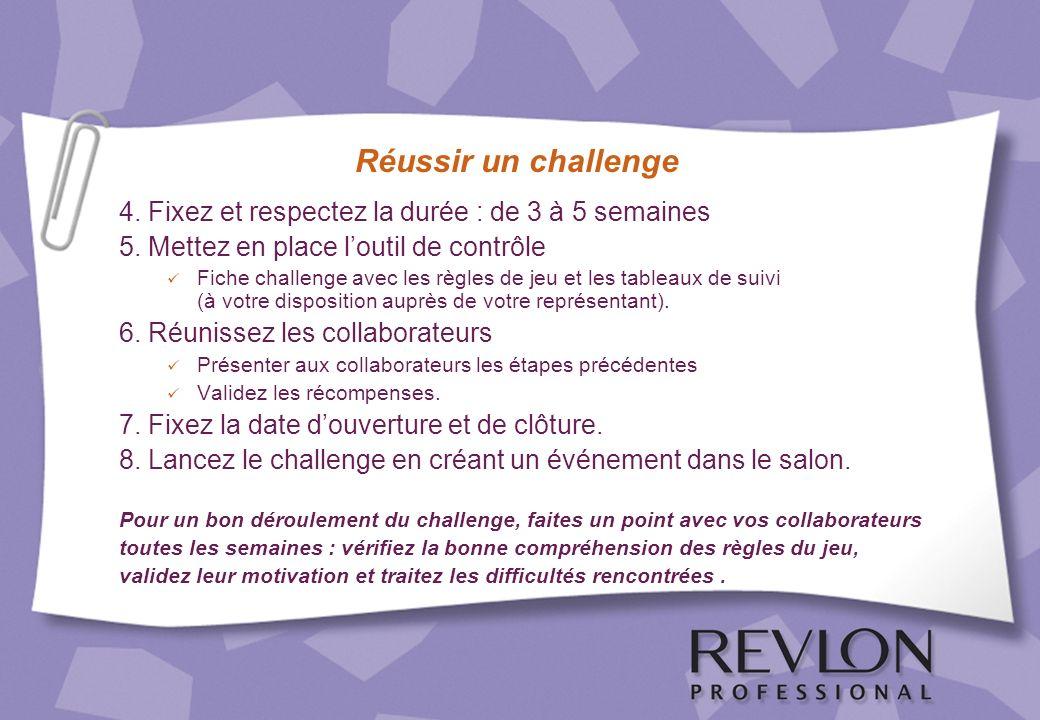 Réussir un challenge 4. Fixez et respectez la durée : de 3 à 5 semaines. 5. Mettez en place l'outil de contrôle.