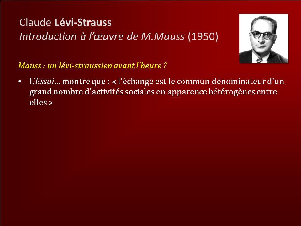 Introduction à l'œuvre de M.Mauss (1950)