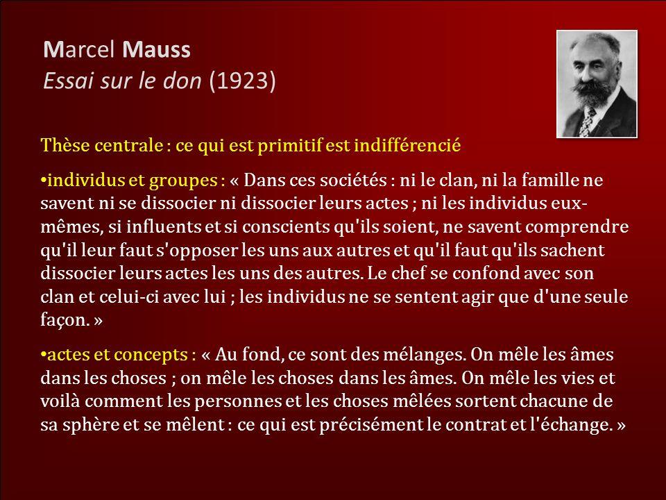Marcel Mauss Essai sur le don (1923)