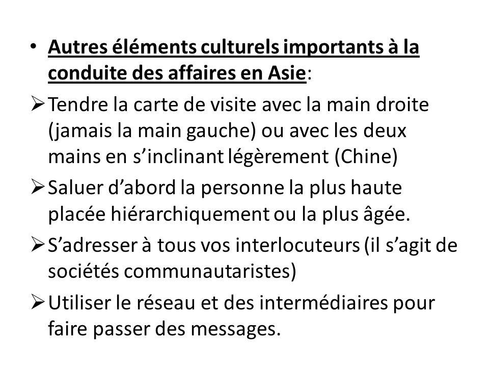 Autres éléments culturels importants à la conduite des affaires en Asie: