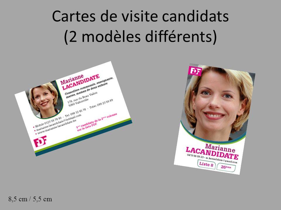 Cartes de visite candidats (2 modèles différents)