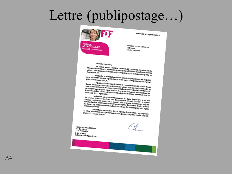 Lettre (publipostage…)