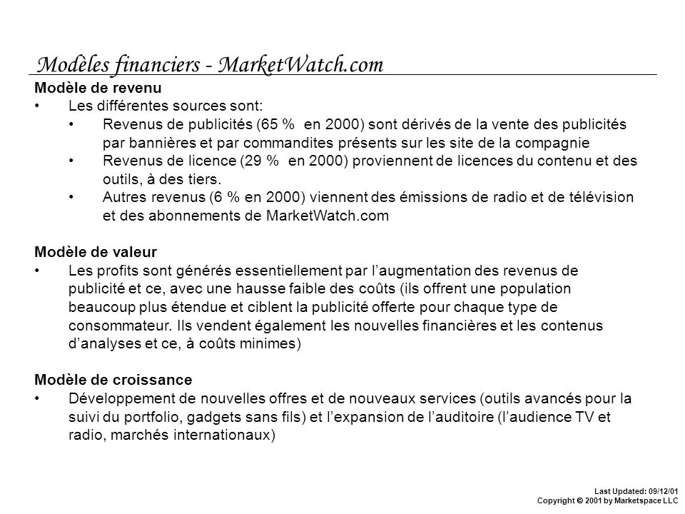 Modèles financiers - MarketWatch.com