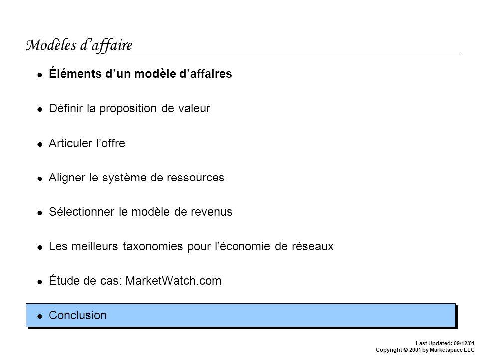 Modèles d'affaire Éléments d'un modèle d'affaires