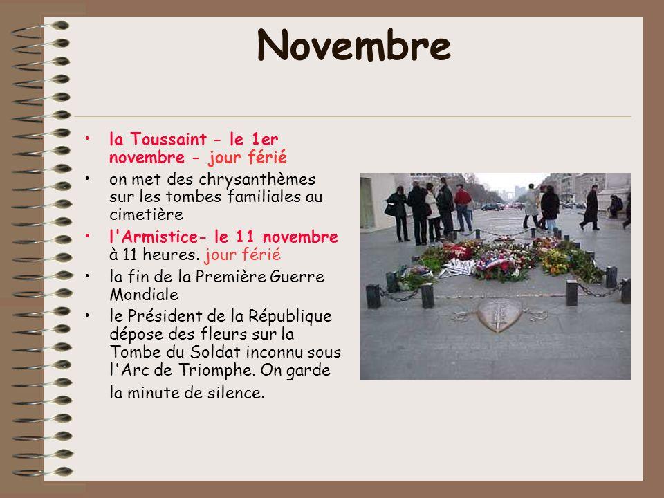Novembre la Toussaint - le 1er novembre - jour férié
