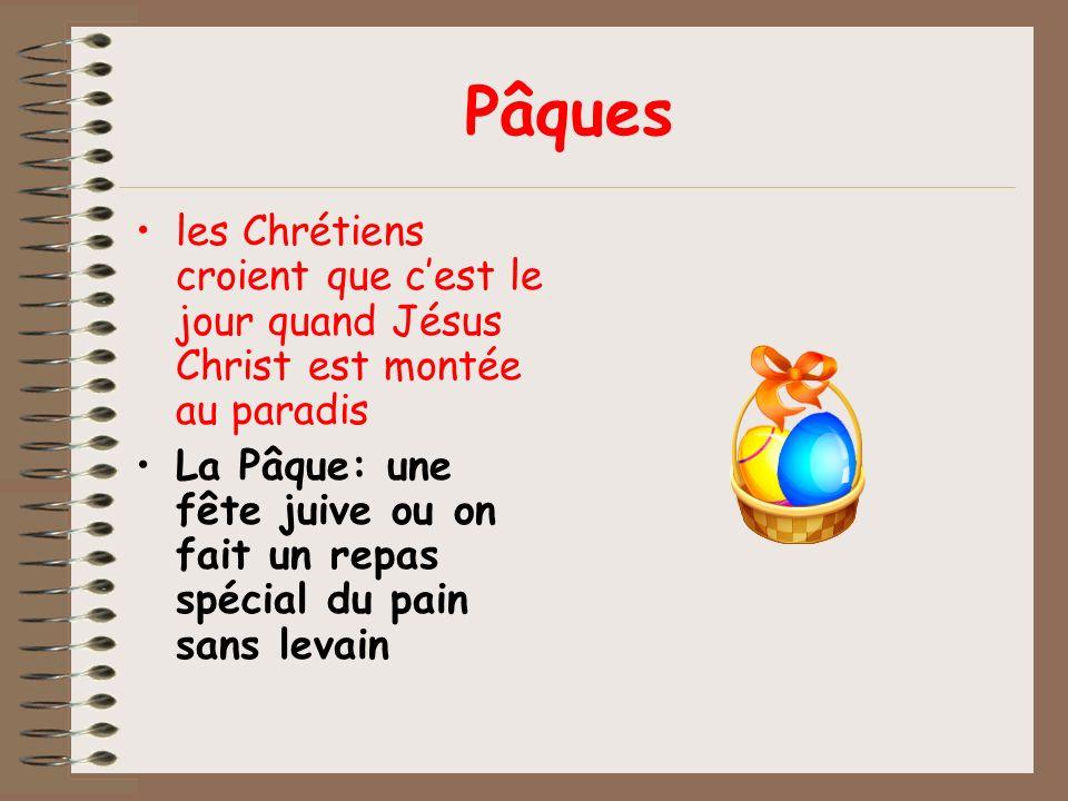 Pâques les Chrétiens croient que c'est le jour quand Jésus Christ est montée au paradis.