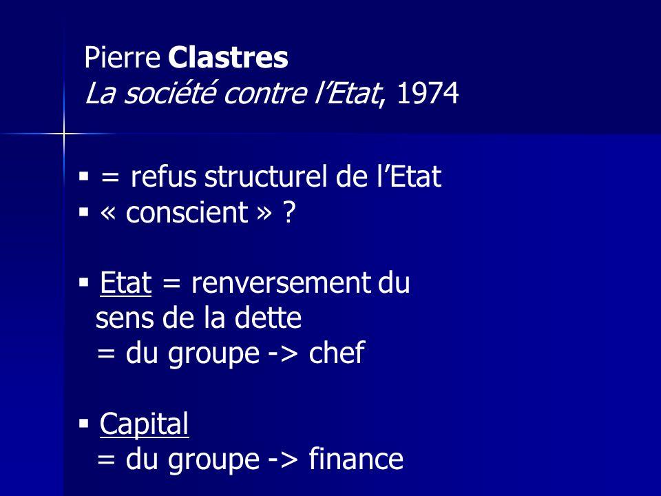 Pierre Clastres La société contre l'Etat, 1974