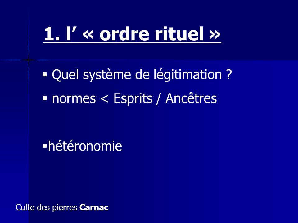 1. l' « ordre rituel » Quel système de légitimation