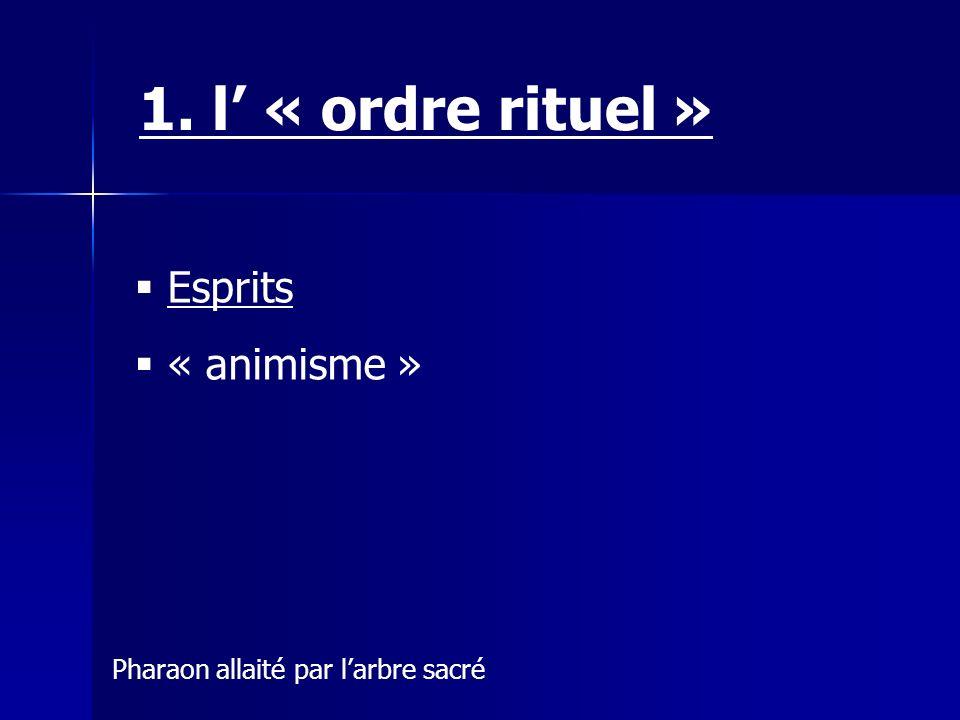 1. l' « ordre rituel » Esprits « animisme »