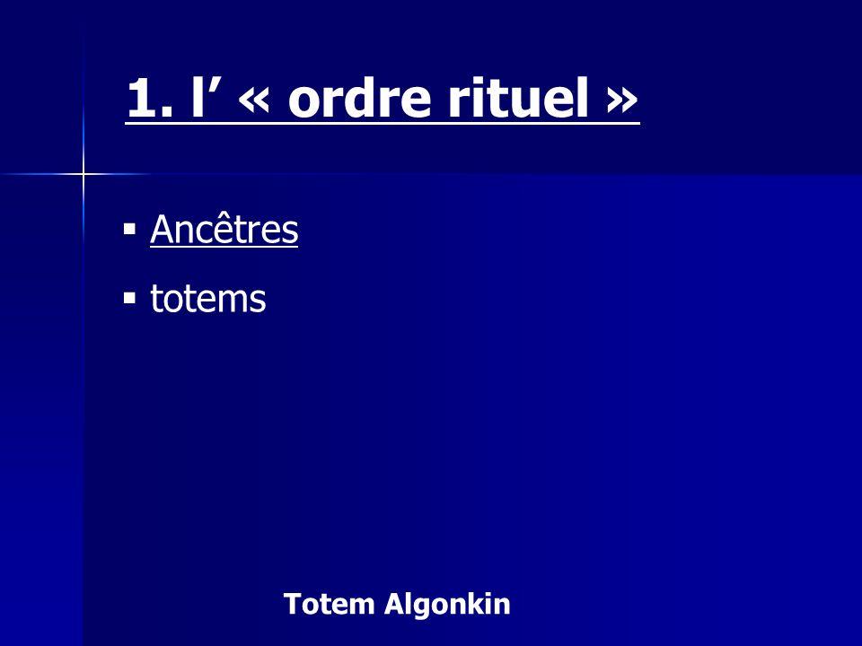 1. l' « ordre rituel » Ancêtres totems Totem Algonkin