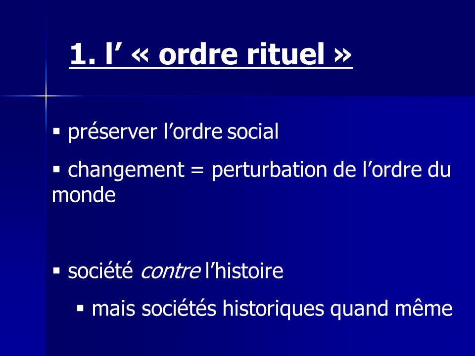1. l' « ordre rituel » préserver l'ordre social