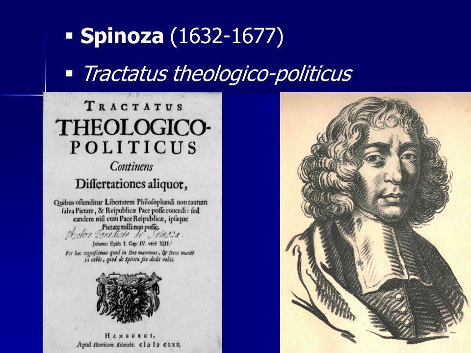 Spinoza (1632-1677) Tractatus theologico-politicus