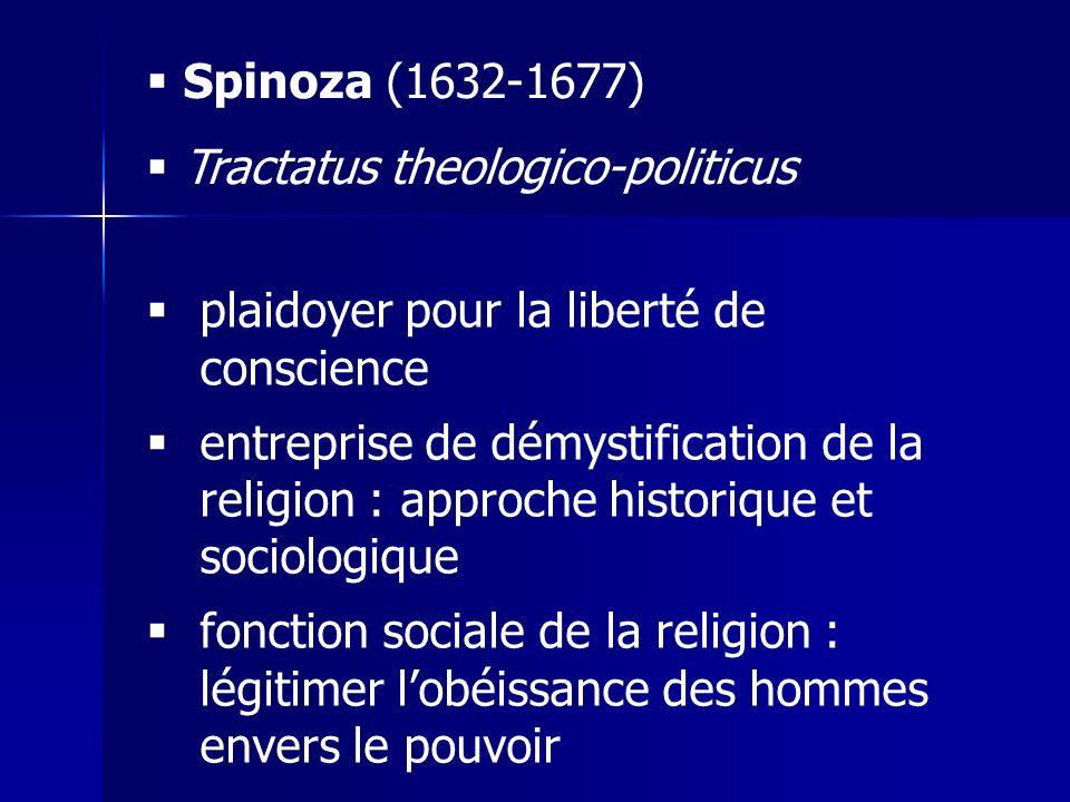 Spinoza (1632-1677) Tractatus theologico-politicus. plaidoyer pour la liberté de conscience.