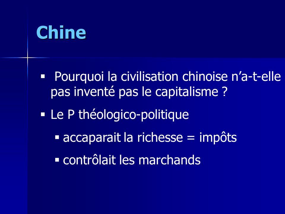 Chine Pourquoi la civilisation chinoise n'a-t-elle pas inventé pas le capitalisme Le P théologico-politique.