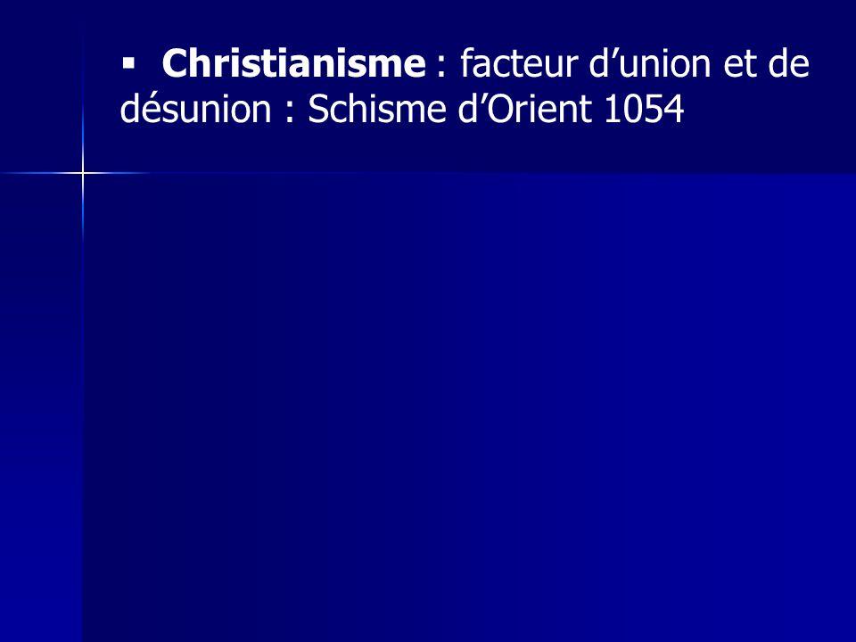 Christianisme : facteur d'union et de désunion : Schisme d'Orient 1054