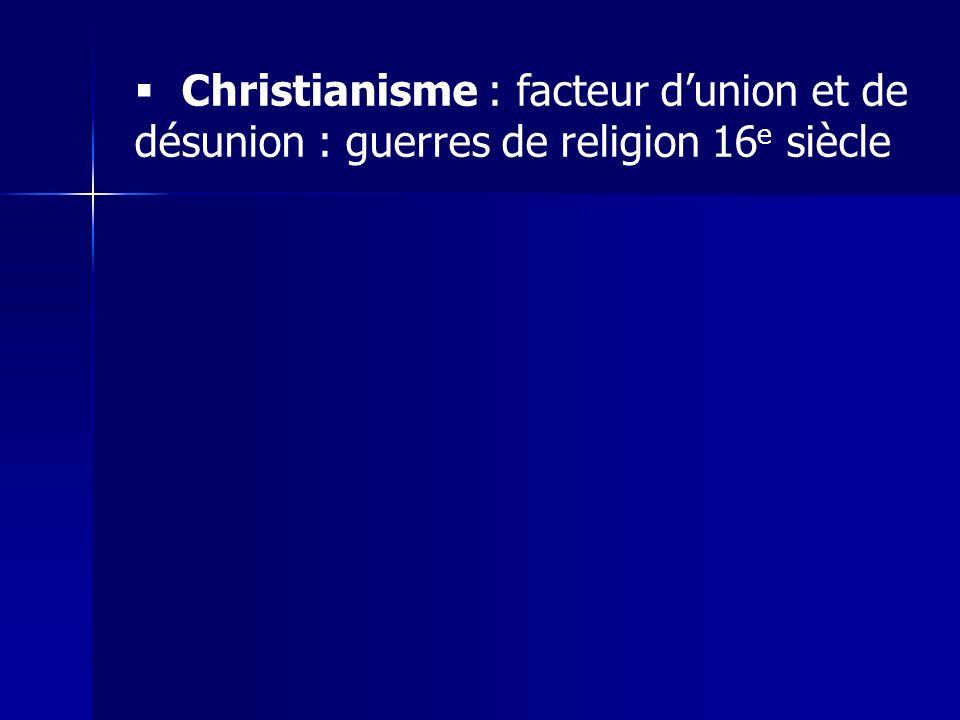Christianisme : facteur d'union et de désunion : guerres de religion 16e siècle