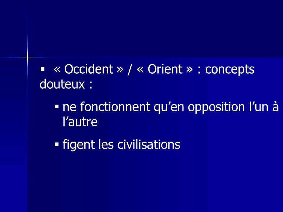 « Occident » / « Orient » : concepts douteux :