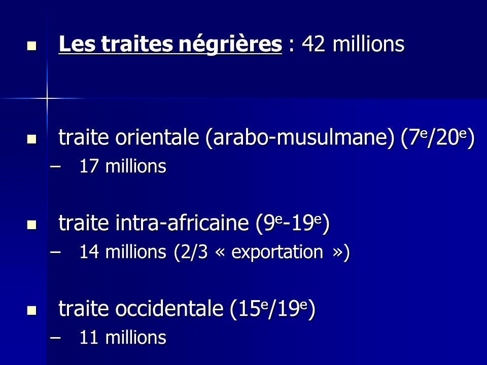 Les traites négrières : 42 millions