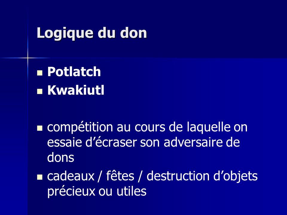 Logique du don Potlatch Kwakiutl