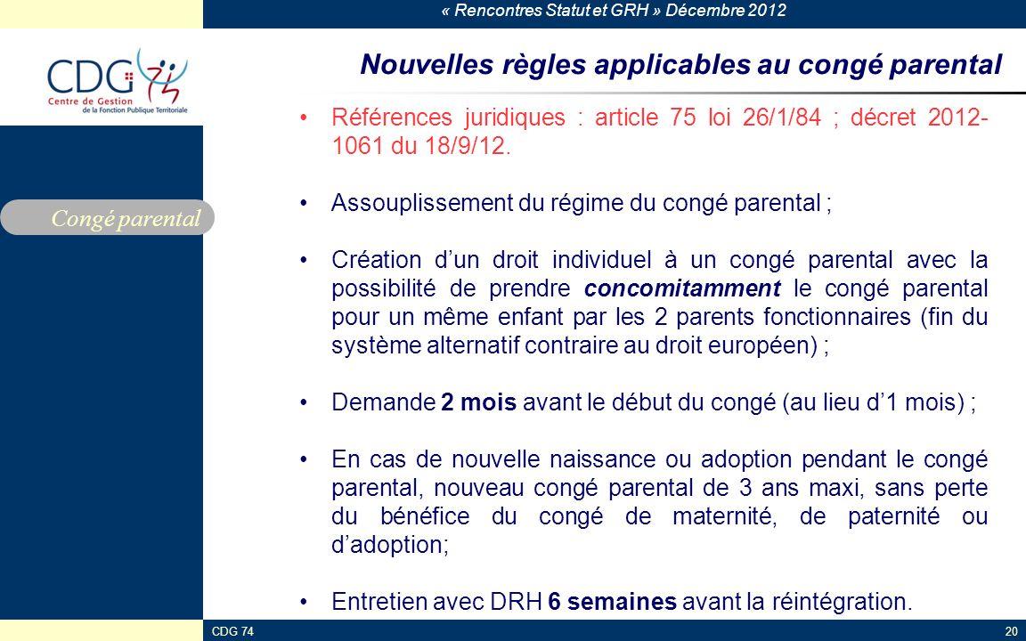Nouvelles règles applicables au congé parental