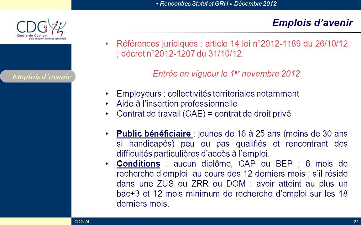 Entrée en vigueur le 1er novembre 2012