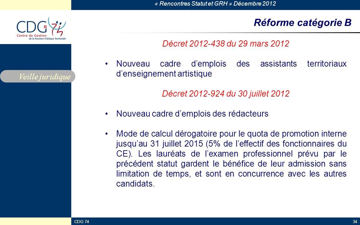 Réforme catégorie B Décret 2012-438 du 29 mars 2012