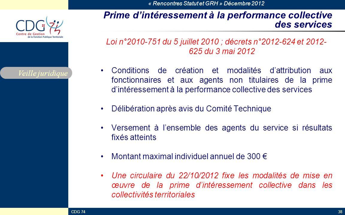 Prime d'intéressement à la performance collective des services