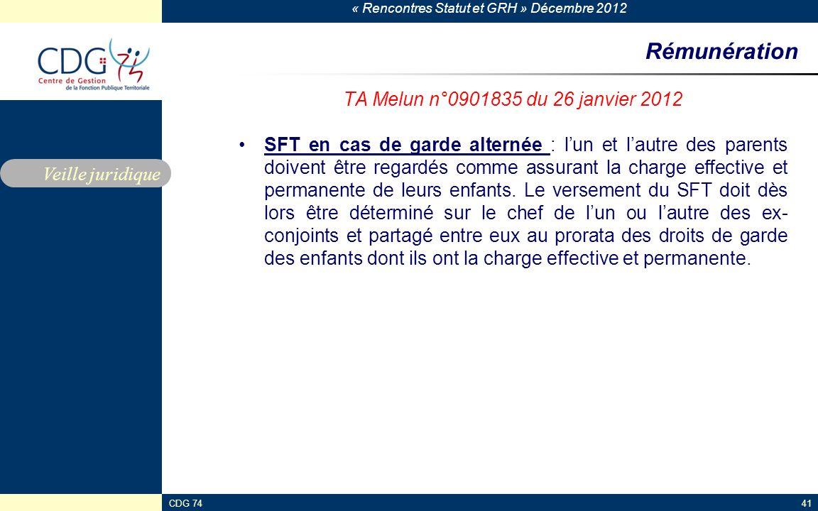 Rémunération TA Melun n°0901835 du 26 janvier 2012